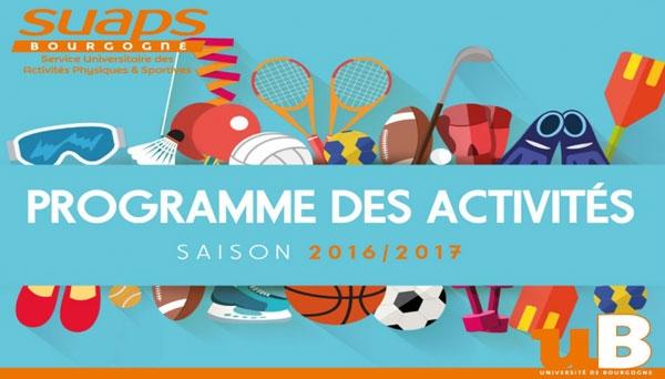 SUAPS : le programme des activités 2016-2017 est sorti !