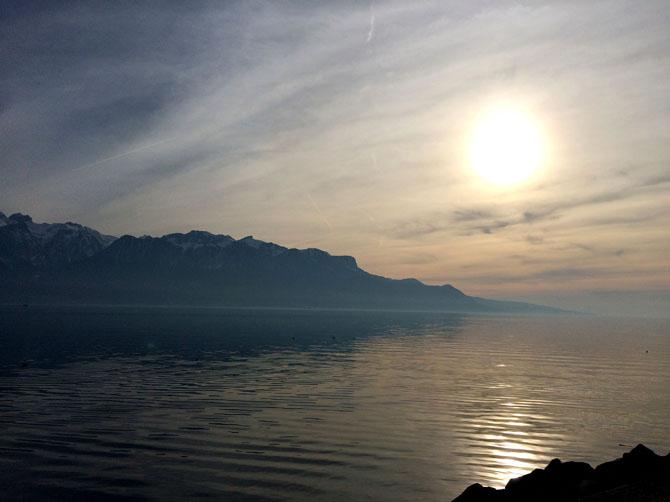 Lac Léman, Thonon en face.