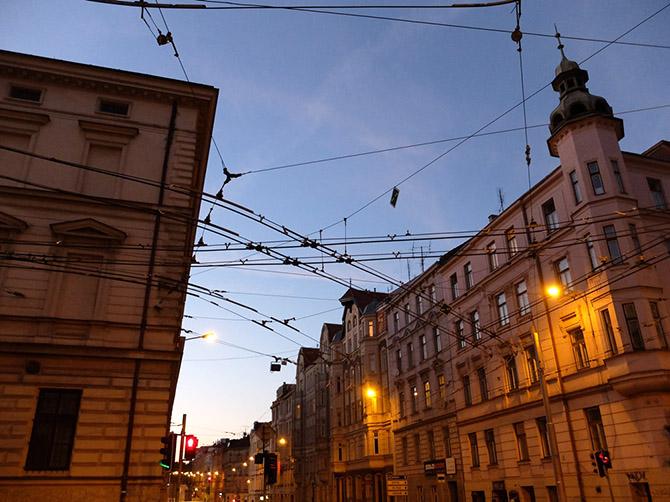 Rues dans un quartier à l'ouest de Brno.